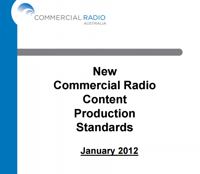 Commercial Radio Content Production Standards Cover Image